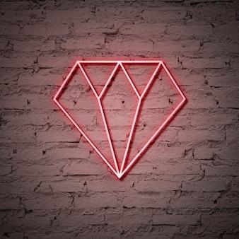 Sinal de néon do diamante