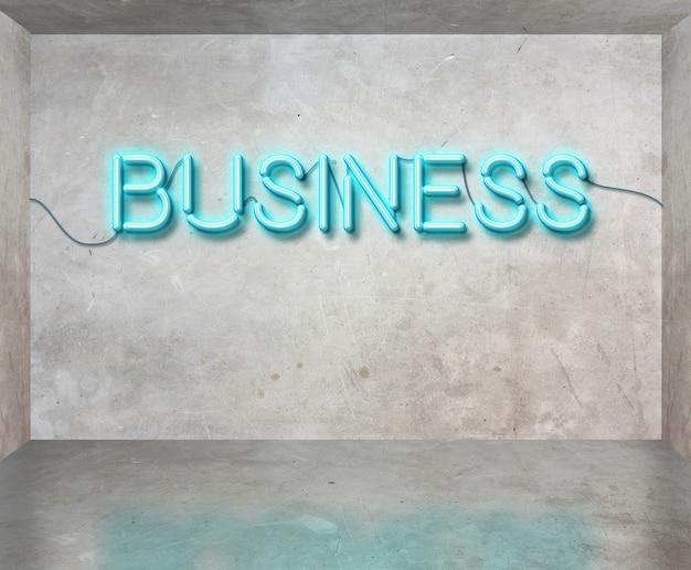 Sinal de néon do negócio no quarto concreto cinzento, conceito do negócio