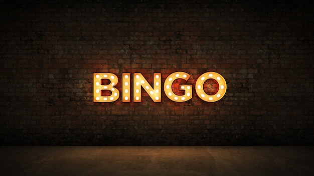 Sinal de néon no fundo da parede de tijolos bingo renderização em 3d