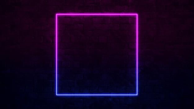 Sinal de néon quadrado brilhante. quadro de néon roxo e azul. parede de tijolos escuros.