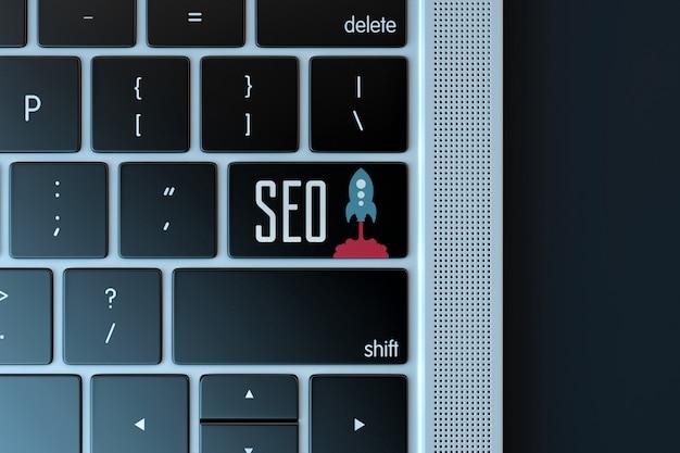 Sinal de otimização de mecanismo de pesquisa sobre teclado de laptop