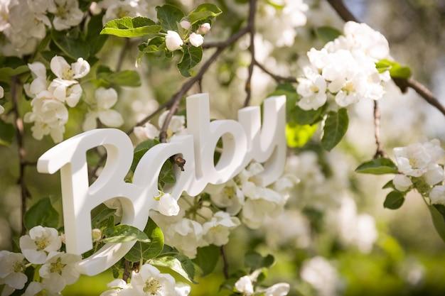 Sinal de plástico branco bebê nos galhos de uma macieira branca em flor como um conceito de nascimento