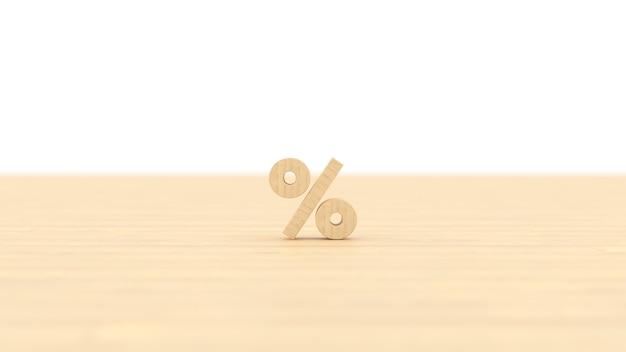 Sinal de porcentagem de construção de madeira com fundo branco isolado ilustração 3d renderização para negócios