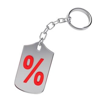Sinal de porcentagem vermelho no chaveiro prateado