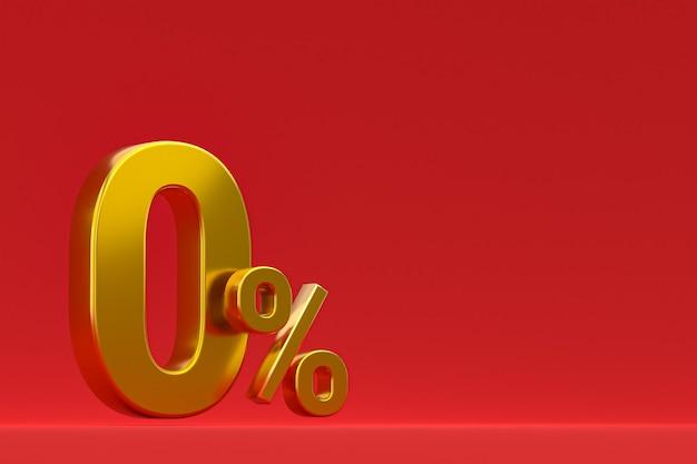 Sinal de porcentagem zero e desconto de venda em fundo vermelho com taxa de oferta especial. renderização 3d