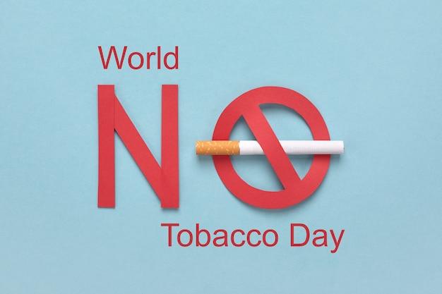 Sinal de proibido com um cigarro e texto em vermelho, dia mundial sem tabaco.
