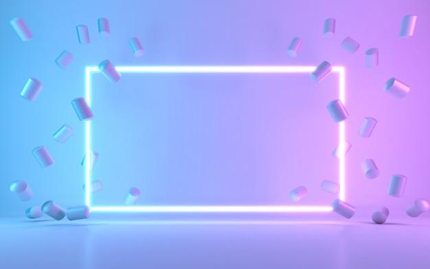 Sinal de quadro de néon com donut. renderização em 3d