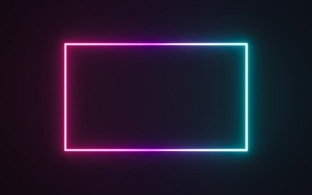 Sinal de quadro de néon na forma de um retângulo