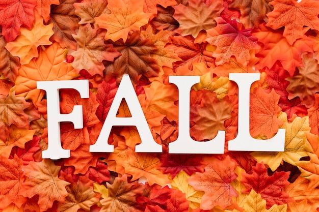 Sinal de queda de conceito projetado em folhas de outono