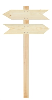 Sinal de seta de madeira em branco isolado