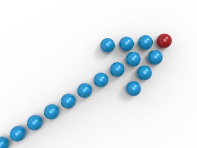Sinal de seta para o conceito de liderança com esfera azul e vermelha
