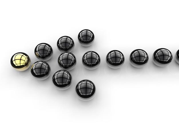 Sinal de seta para o conceito de liderança com esfera dourada e preta