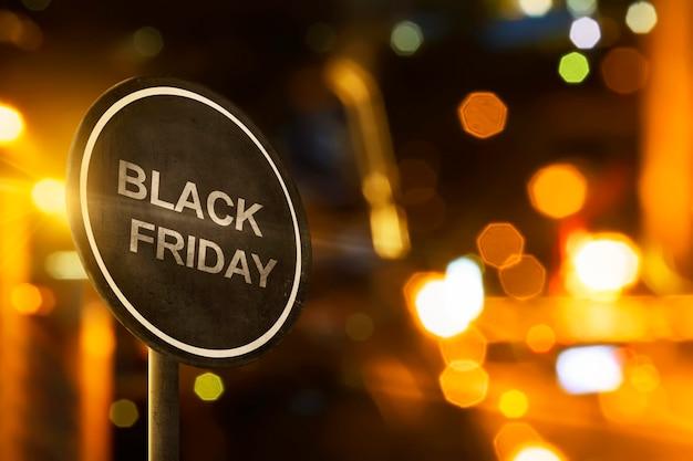 Sinal de sexta-feira negra com iluminação de borrão