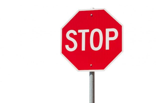 Sinal de stop vermelho isolado no fundo branco