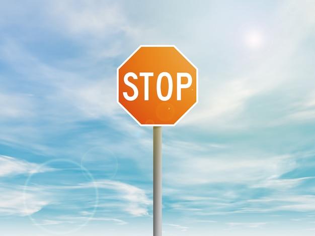 Sinal de stop vermelho no céu