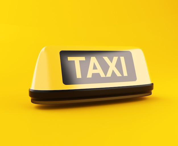 Sinal de táxi amarelo 3d