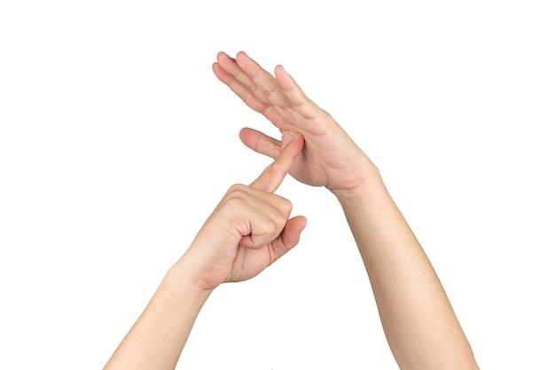 Sinal de timeout e simbol da mão humana asiática com fundo branco isolado e traçado de recorte.