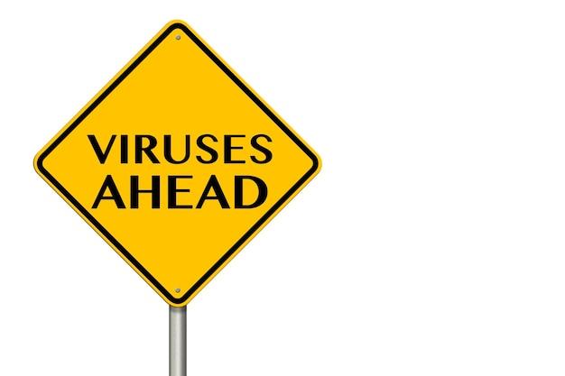 Sinal de tráfego de vírus à frente em um fundo branco