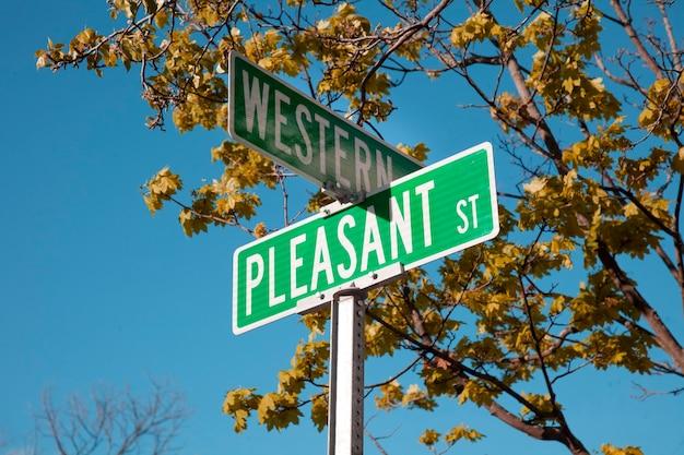 Sinal de trânsito com os nomes das ruas