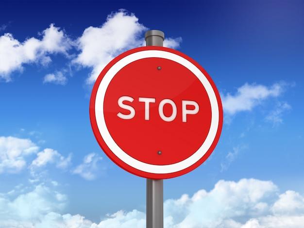 Sinal de trânsito com parar palavra no céu azul
