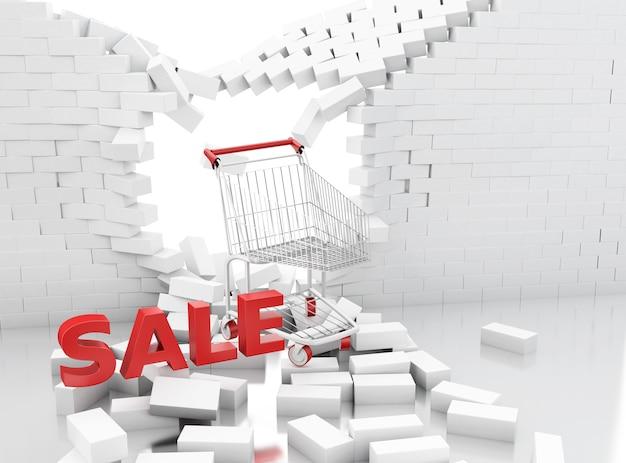 Sinal de venda 3d de um carrinho de compras, quebrando através de uma parede de tijolo