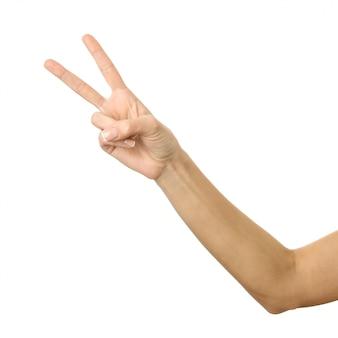 Sinal de vitória mão de mulher gesticulando isolado no branco