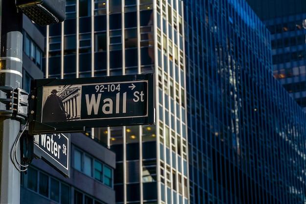 Sinal de wall street em nova york, manhattan, eua