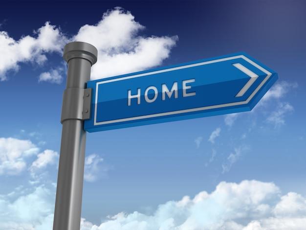 Sinal direcional com palavra casa no céu azul