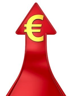 Sinal do euro e seta vermelha no espaço em branco. ilustração 3d isolada