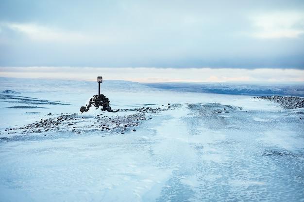 Sinal do gelo da geleira langjokull de 1980, efeitos do aquecimento global
