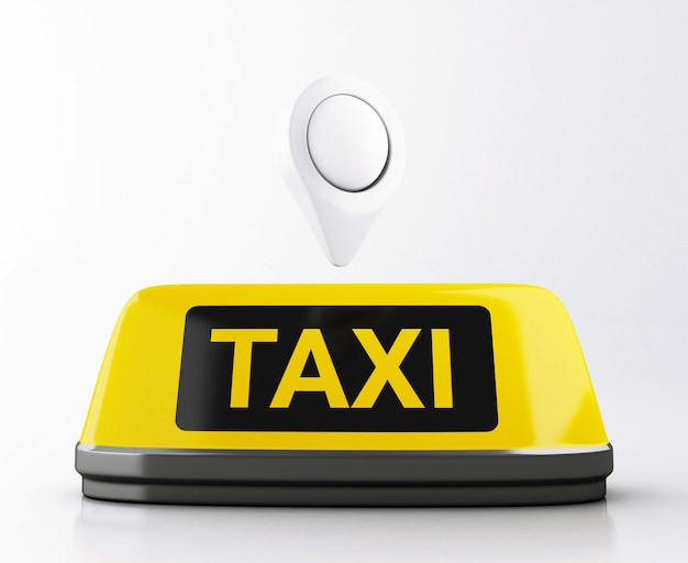 Sinal do táxi 3d e ponteiro amarelos do mapa. pedido de táxi online.