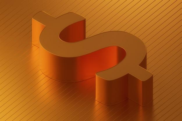Sinal dourado da rendição 3d conceptual da moeda do dólar