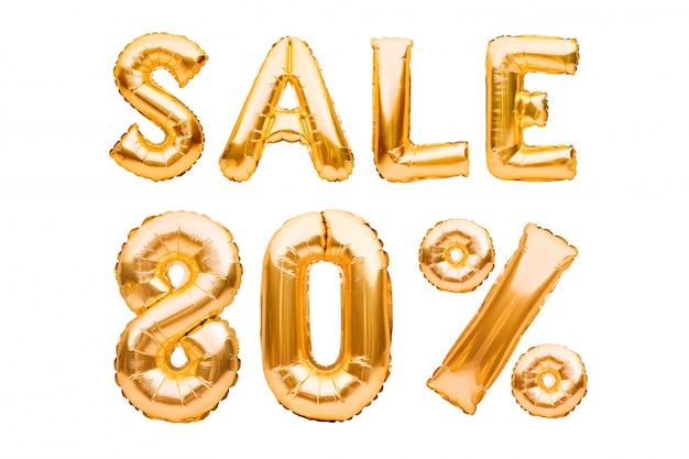 Sinal dourado da venda de oitenta por cento feito dos balões infláveis isolados no branco. balões de hélio, números de folha de ouro.