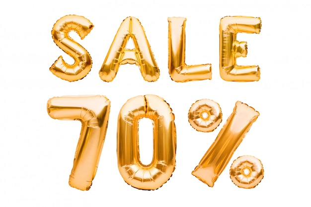 Sinal dourado da venda de setenta por cento feito dos balões infláveis isolados no branco. balões de hélio, números de folha de ouro.