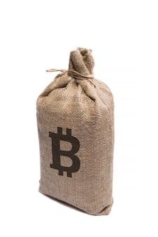 Sinal e símbolo da criptomoeda bitcoin em um saco grosso