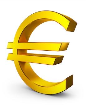 Sinal euro volumétrico da cor do ouro. renderização 3d.