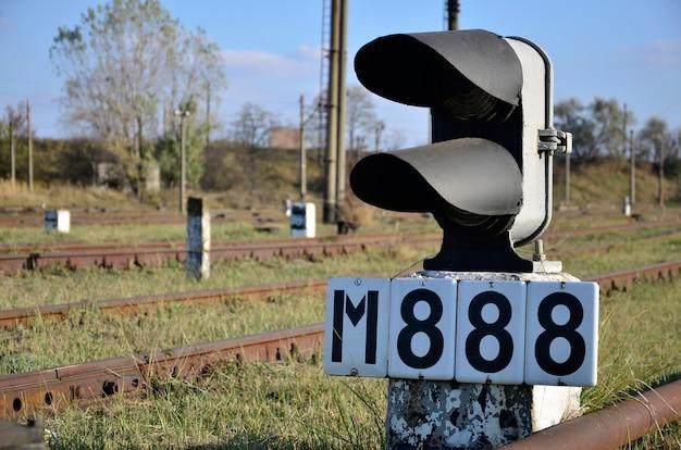 Sinal ferrovia, com, a, estrada ferro, fundo