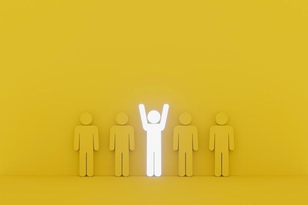 Sinal humano excelente entre o grupo. conceito líder, único, pense diferente, individual e se destaque na multidão. ilustração 3d