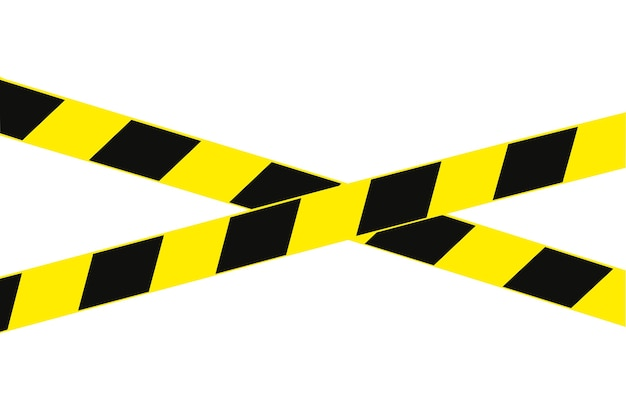 Sinal ou fita de advertência preta e amarela. isolado no branco. alerta de perigo.