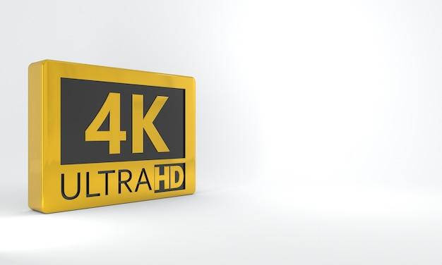 Sinal preto e dourado 4k ultra hd ícone ou botão de etiqueta isométrica de alta definição ou resolução
