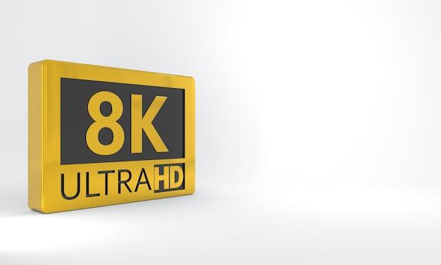 Sinal preto e dourado 8k ultra hd ícone ou botão de etiqueta isométrica em alta definição ou resolução