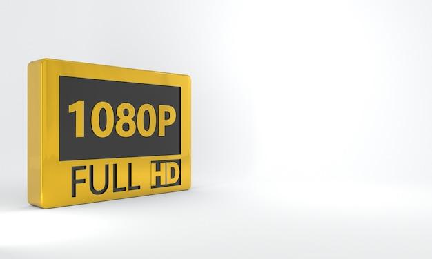 Sinal preto e dourado de 1080p full hd ícone ou botão de etiqueta isométrica em alta definição ou resolução
