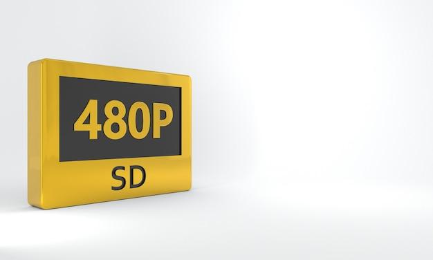 Sinal preto e dourado sd 480p botão ou ícone de etiqueta isométrica em alta definição ou resolução
