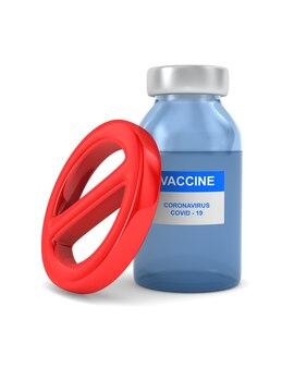 Sinal proibido e vacina de covid-19 em branco.