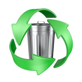 Sinal reciclado e lata de lixo em fundo branco. ilustração 3d isolada