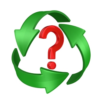 Sinal reciclado e pergunta sobre fundo branco. ilustração 3d isolada