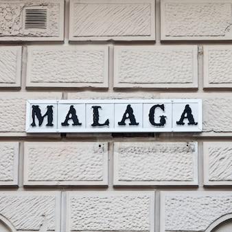 Sinal rodoviário de málaga, região da andaluzia na espanha