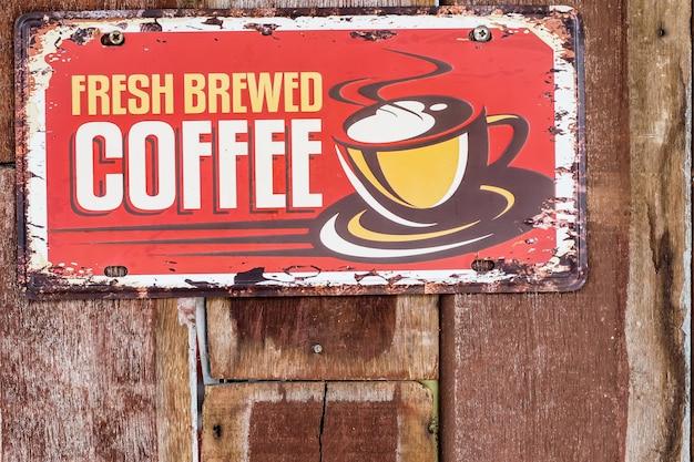 Sinalização de café vintage antigo