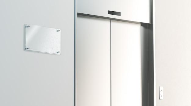 Sinalização em branco perto de elevador fechado de prata no interior do piso do escritório, vista lateral, renderização em 3d. placa de sinal vazia com elevador com botões perto da parede de concreto. levantamento do centro de negócios ou hotel