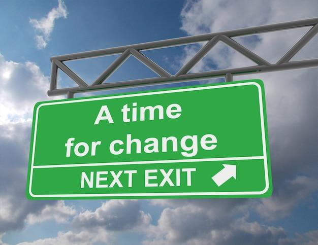 Sinalização rodoviária verde suspensa com a indicação time for a change